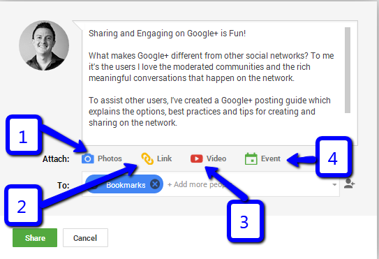 Google Plus Posting Options