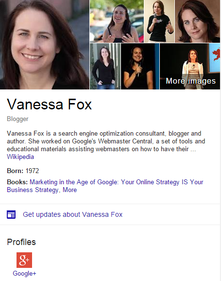 Google Search Results Page For The Query Vanessa Fox