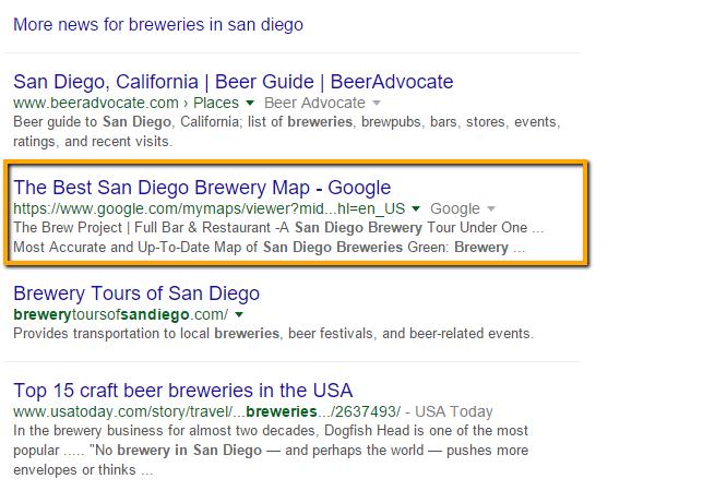 Google My Maps result