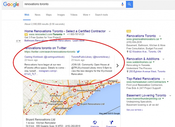 tweet carousel ranking above a google local 3 pack