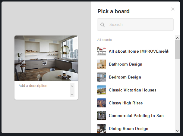 adding pins to a pinterest board
