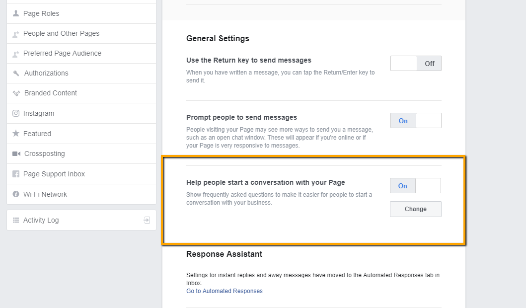 how to enable or change frequently asked questions in Facebook Messaging